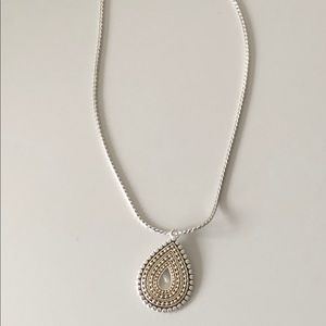"Jewelry - Reversible silver gold pendent 18"" silver necklace"